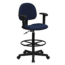 Flash Furniture Ergonomic Drafting Chair NavyBlack