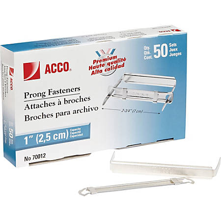 """ACCO® Premium Prong Fasteners For Standard 2-Hole Punch, 2 3/4"""" Centers, 1"""" Capacity, Box Of 50"""