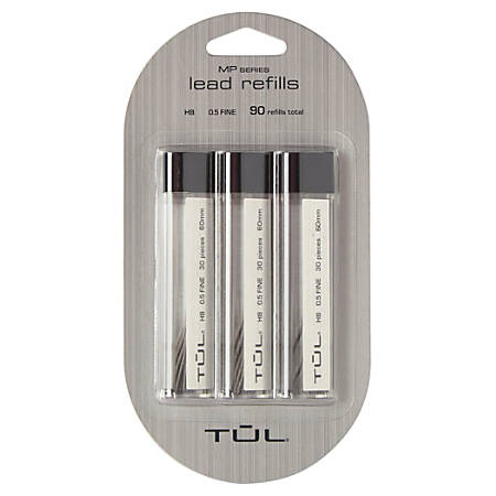 TUL® Lead Refills, 0.5 mm, HB Hardness, 30 Leads Per Tube, Pack Of 3 Tubes