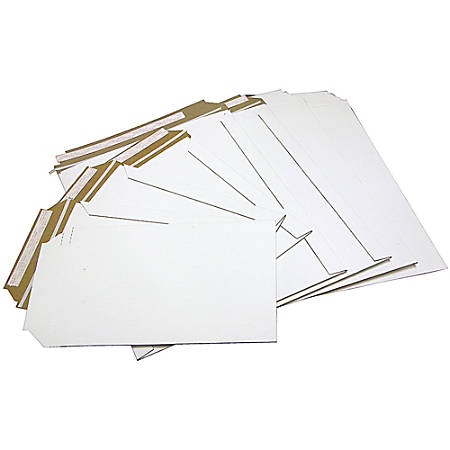 "Office Depot® Brand White Chipboard Photo And Document Mailer, 100% Recycled, 11"" x 13 1/2"", Pack Of 24"