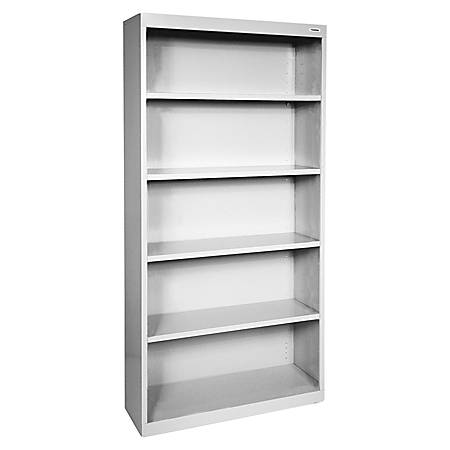 Lorell® Fortress Series Steel Bookcase, 5-Shelf, Light Gray