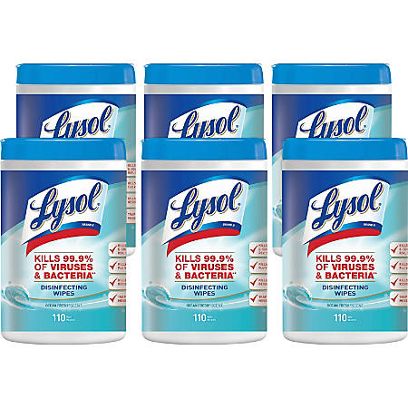 Lysol Disinfecting Wipes - Wipe - 12 fl oz - Ocean Fresh Scent - 110 / Canister - 6 / Carton - White