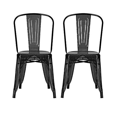 DHP Nova Mesh Dining Chairs, Black/Silver, Set Of 2