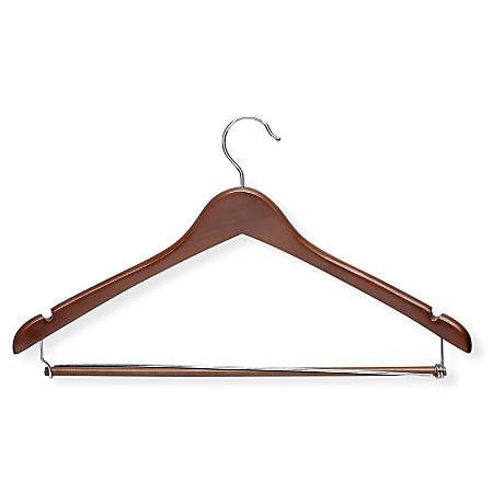 Honey-Can-Do Wood Contoured Suit Hangers, Cherry, Pack Of 6