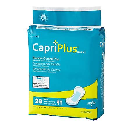 "Capri Plus Bladder Control Pad Incontinent Liners, Ultra Plus, 8"" x 17"", White, Case Of 28"