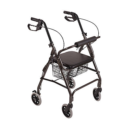 Astounding Dmi Freedom Adjustable Aluminum Rollator Walker With Seat 38 X 25 Titanium Item 344788 Bralicious Painted Fabric Chair Ideas Braliciousco