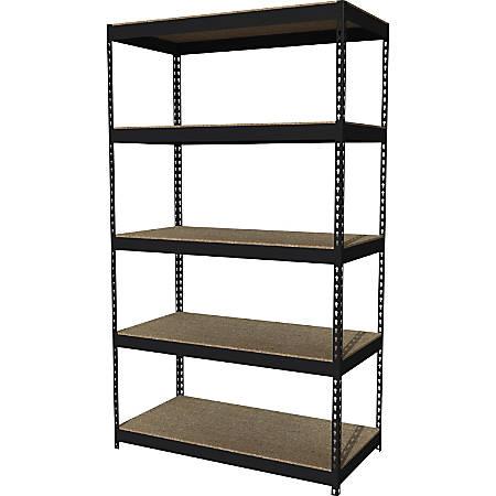 "Lorell® 5-Shelf Riveted Steel Shelving, 84""H x 48""W x 24""D, Black"