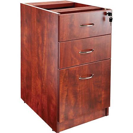 "Lorell® Essentials 22""D Vertical 3-Drawer Fixed Pedestal File Cabinet, Metal, Cherry"