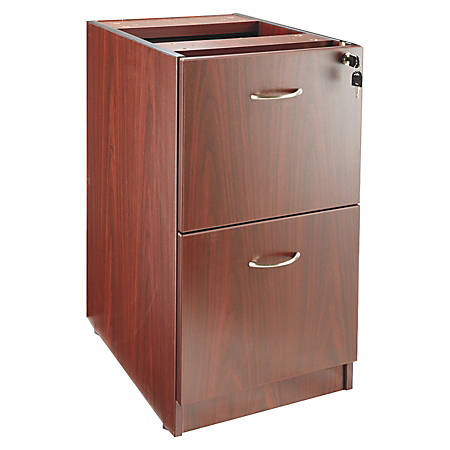 """Lorell® Essentials Series 22""""D 2-Drawer Fixed Pedestal File Cabinet, Mahogany"""