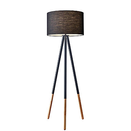 "Adesso® Louise Floor Lamp, 60 1/4""H, Black Shade/Natural Base"
