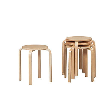 Linon Home Decor Products Bentwood Stacking Stools Natural