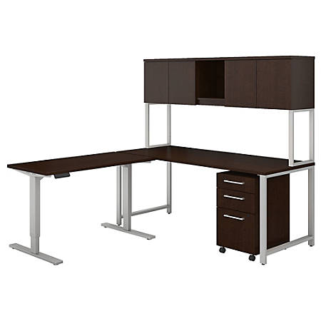 "Bush Business Furniture 400 Series 72""W L Shaped Desk And Height Adjustable Return With Hutch And Storage, Mocha Cherry, Premium Installation"