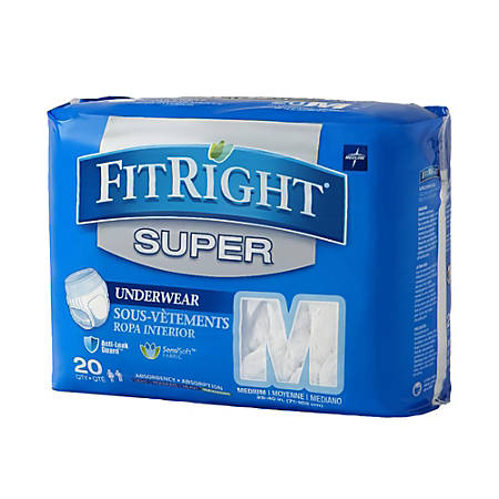 """FitRight Super Protective Underwear, Medium, 28 - 40"""", White, 20 Pairs Per Pack, Case Of 4 Packs"""