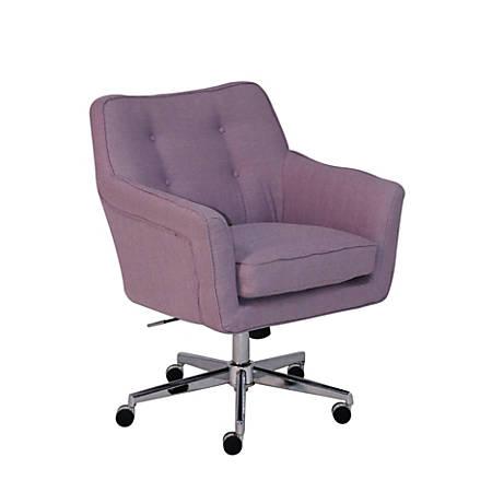 Serta Ashland Home Mid-Back Office Chair, Twill Fabric, Lilac/Chrome