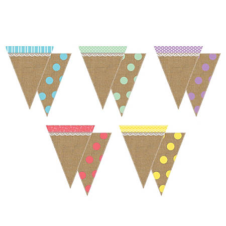 """Teacher Created Resources Shabby Chic Pennants, 8 3/4"""" x 6 3/4"""", Multicolor, Pre-K - Grade 8, Pack Of 16"""