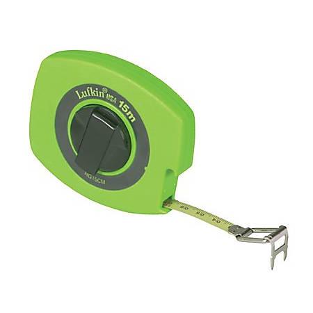"""Lufkin Hi-Viz Universal Lightweight Measuring Tape, SAE/Metric, 50' x 3/8"""" Blade"""