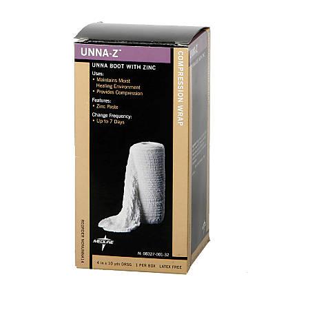 "Medline Unna-Z Unna Boot Bandages, 4"" x 10 Yd., White, Case Of 12"