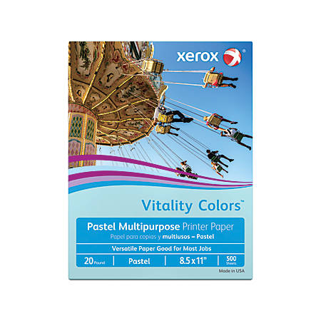 "Xerox® Vitality Colors™ Multi-Use Printer Paper, Letter Size (8 1/2"" x 11""), 20 Lb, 30% Recycled, Blue, Ream Of 500 Sheets"