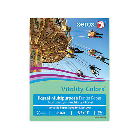 "Xerox® Vitality Colors™ Multi-Use Printer Paper, Letter Size (8 1/2"" x 11""), 20 Lb, 30% Recycled, Green, Ream Of 500 Sheets"