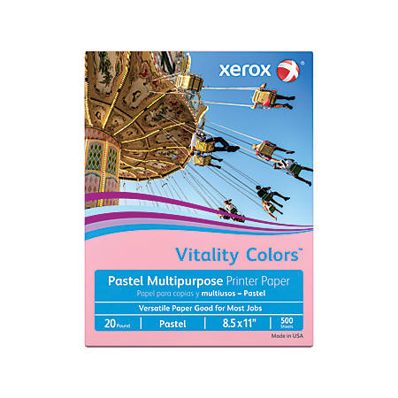 "Xerox® Vitality Colors™ Multi-Use Printer Paper, Letter Size (8 1/2"" x 11""), 20 Lb, 30% Recycled, Pink, Ream Of 500 Sheets"