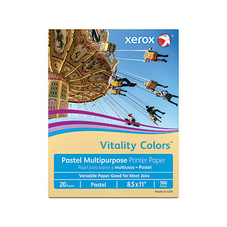 Xerox® Vitality Colors™ Multipurpose Printer Paper, Letter Paper Size, 20 Lb, 30% Recycled, Buff, Ream Of 500 Sheets