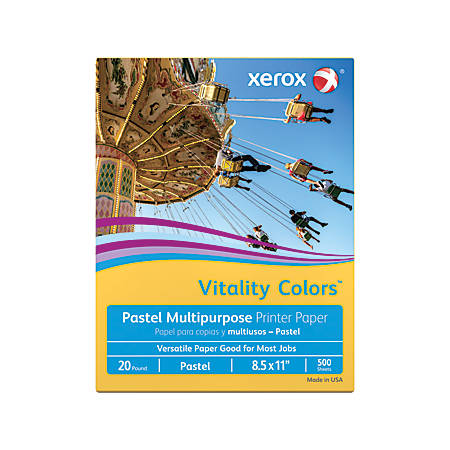 "Xerox® Vitality Colors™ Multi-Use Printer Paper, Letter Size (8 1/2"" x 11""), 20 Lb, 30% Recycled, Goldenrod, Ream Of 500 Sheets"