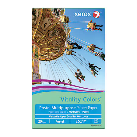 Xerox® Vitality Colors™ Multipurpose Printer Paper, Legal Paper Size, 20 Lb, 30% Recycled, Green, Ream Of 500 Sheets
