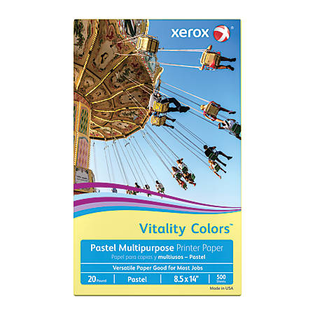 Xerox® Vitality Colors™ Multipurpose Printer Paper, Legal Paper Size, 20 Lb, 30% Recycled, Yellow, Ream Of 500 Sheets