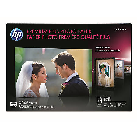 "HP Premium Plus Photo Paper, Glossy, 11"" x 17"", 11.5 Mil, Pack Of 25 Sheets"