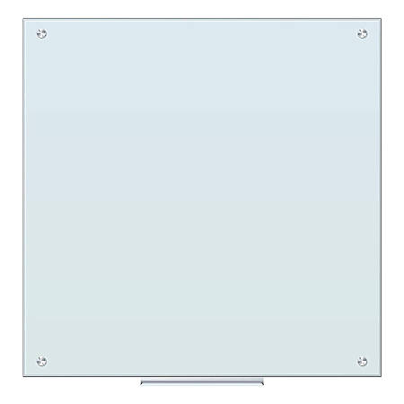"U Brands Glass Dry-Erase Board, 36"" x 36"", White Frosted"