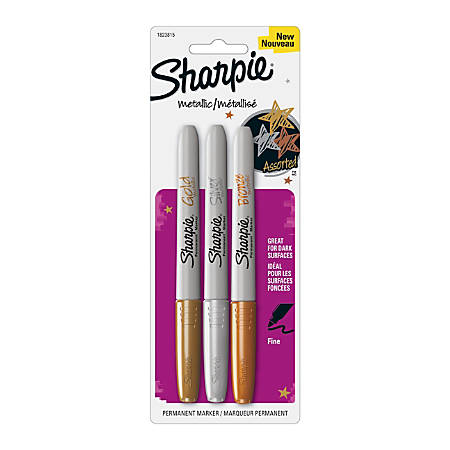 Sharpie® Metallic Permanent Markers, Fine Point, Assorted Colors, Pack Of 3
