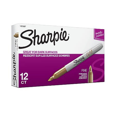 Sharpie® Metallic Permanent Markers, Fine Point, Gold Ink, Pack Of 12