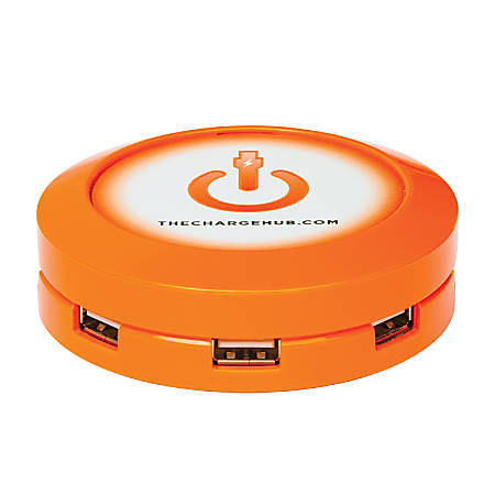 ChargeHub X7 7-Port USB Charger, Round, Orange, CRGRD-X7-007