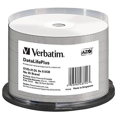 Verbatim DVD+R DL 8.5GB 8X DataLifePlus White Thermal Printable, Hub Printable - 50pk Spindle