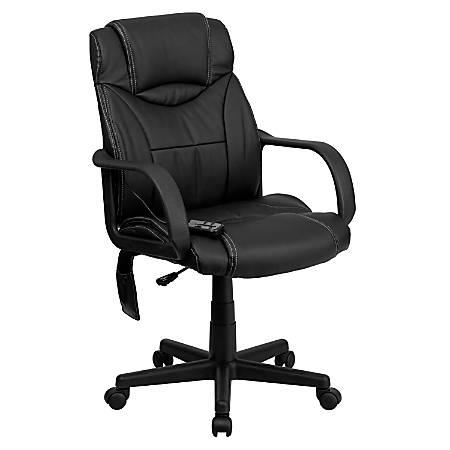 Flash Furniture Leather High-Back Massaging Chair, Black