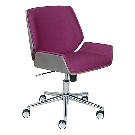 Elle Décor Ophelia Bentwood Fabric Mid-Back Task Chair, Fuchsia/Chrome