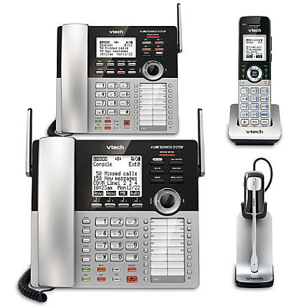 VTech® CM18445 4-Line Small Business Office Phone System Bundle with 2 Desksets, 1 Handset and 1 Headset