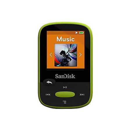 "SanDisk Clip Sport SDMX24-008G 8 GB Flash MP3 Player - Lime - FM Tuner - 1.4"" - microSDHC - MP3, AAC, Audible, FLAC, Ogg Vorbis, WAV, WMA - 25 Hour"