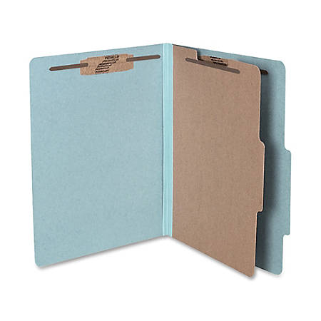 """ACCO® Durable Pressboard Classification Folders, Letter Size, 2"""" Expansion, 1 Partition, 60% Recycled, Sky Blue, Box Of 10"""