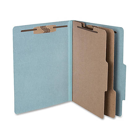 "ACCO® Durable Pressboard Classification Folders, Letter Size, 3"" Expansion, 2 Partitions, 60% Recycled, Sky Blue, Box Of 10"