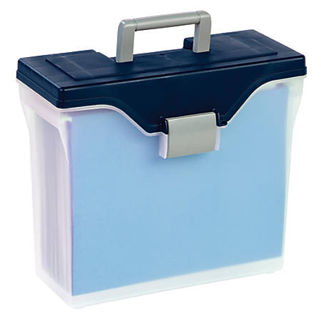 Office Depot® Brand Mobile File Box, Small, Letter Size, Clear/Blue Item #  346375