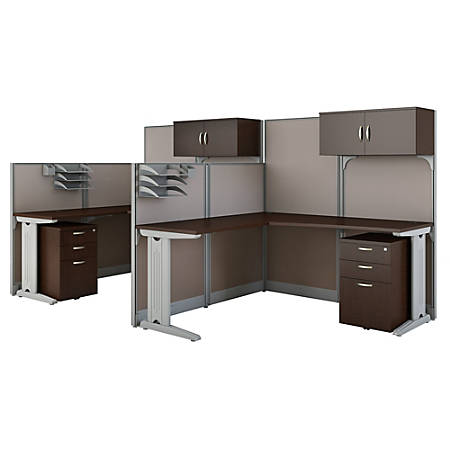 Bush Business Furniture Office in an Hour 2 Person L Shaped Cubicle Workstations, Mocha Cherry, Premium Installation