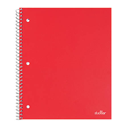 """Office Depot® Brand Stellar Poly Notebook, 8"""" x 11"""", 1 Subject, College Ruled, 200 Pages (100 Sheets), Red"""