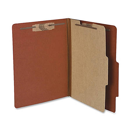 """ACCO® Durable Pressboard Classification Folders, Letter Size, 2"""" Expansion, 1 Partition, 60% Recycled, Earth Red, Box Of 10"""