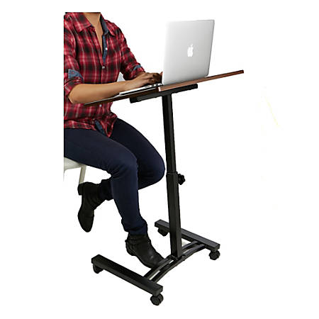 Mind Reader Adjustable Metal Standing And Sitting Laptop Cart, Black