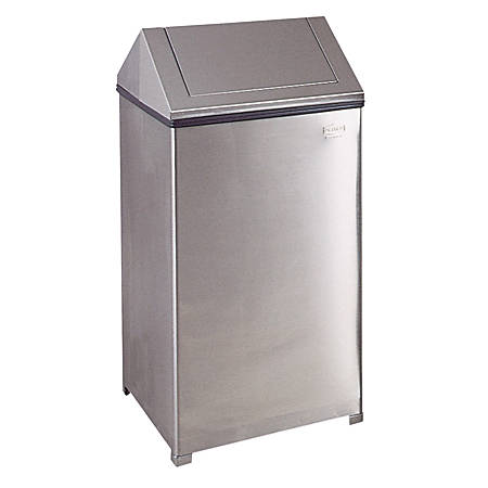 Rubbermaid® Commercial Fire-Safe Square Steel Swing-Top Receptacle, 40 Gallons, Stainless Steel