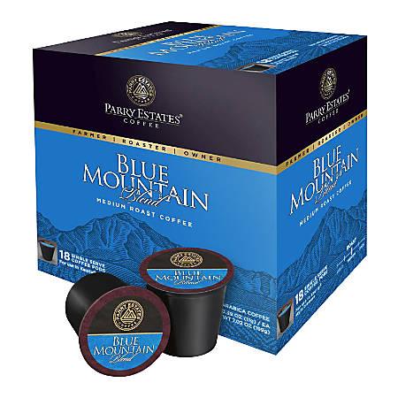 Parry Estates Blue Mountain Coffee Single-Serve Pods, 0.39 Oz, Carton Of 18