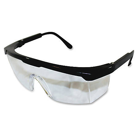 ProGuard Classic 801 Single Lens Safety Eyewear - Adjustable, Adjustable Nose-piece, Adjustable Temple, Scratch Resistant, High Visibility, Comfortable - Ultraviolet Protection - Polycarbonate Lens - Black, Clear - 12 / Box