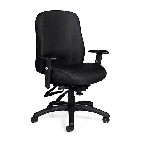"""Offices To Go™ Mid-Back Chair, Multifunction, 2""""H x 24 1/2""""W x 26""""D, Black"""