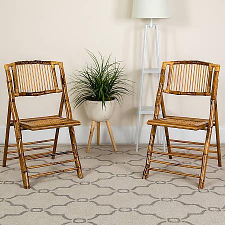 Flash Furniture American Champion Bamboo Folding Chair, Wood Grain